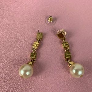 Givenchy dangle earring with gold tone faux pearl